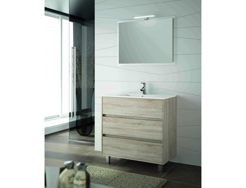 Mobile bagno 800 in legno marrone Caledonia con lavabo Arenys