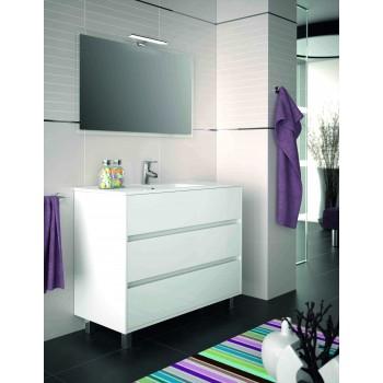 Mobile bagno 1000 in legno laccato bianco lucido con lavabo Arenys