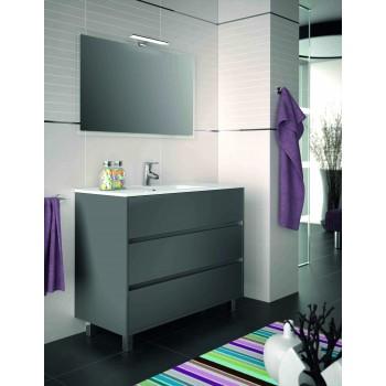 Mobile bagno 1000 in legno grigio opaco con lavabo Arenys
