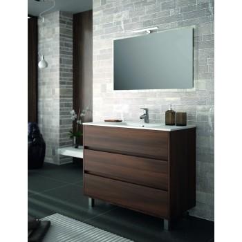 Mobile bagno 1000 in legno marrone Acacia con lavabo Arenys