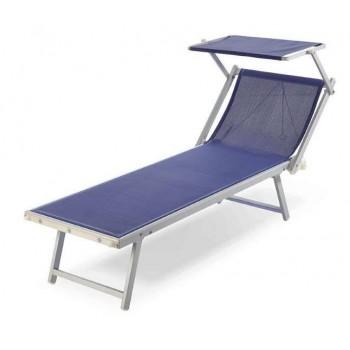 Lettino Riccione da spiaggia con tettuccio bianco o blu