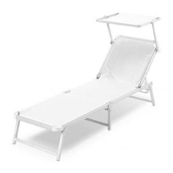 Lettino Sanremo da spiaggia bianco o blu con tettuccio