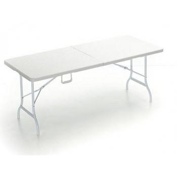 Tavolo Plastik 180 in polyrattan da giardino bianco o nero