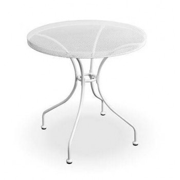 Tavolino Netty rotondo Ø 70 cm in acciaio bianco