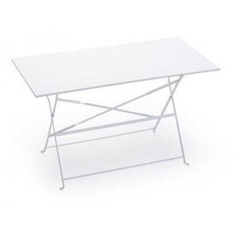 Tavolo Bistro da giardino 120x60 cm in acciaio bianco o grigio scuro
