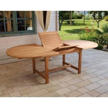 Tavolo alicudi ovale 180x120 allungabile in legno teak for Tavolo ovale allungabile legno